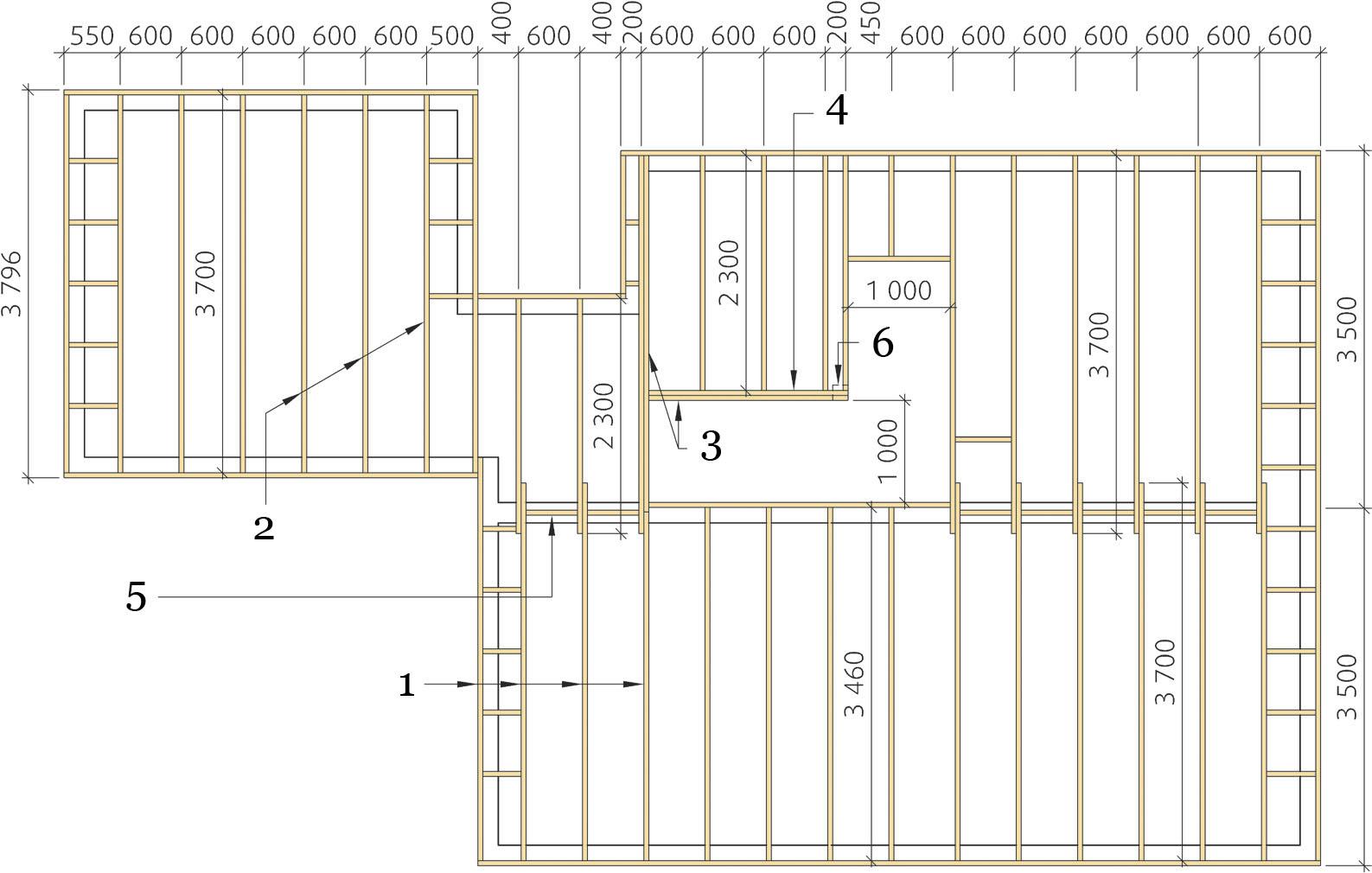 Деревянное каркасное перекрытие: план раскладки балок. (Вдоль фронтонных стен устанавливаются распорные бруски).