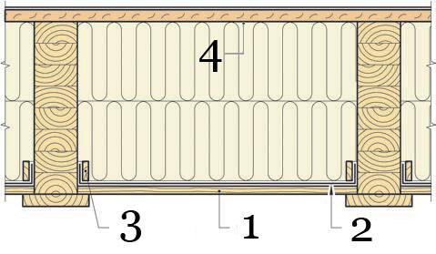 Рис.14. Утепление и герметизация перекрытия первого этажа над вентилируемым подпольем.