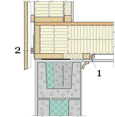 Рис.18. Утепление и герметизация перекрытия между 1 этажом и отапливаемым подвалом в месте стыка с несущей наружной стеной.