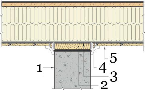 Рис.19. Утепление и герметизация перекрытия между 1 этажом и отапливаемым подвалом в месте стыка с несущей внутренней стеной.