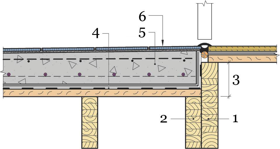 Рис.9. Понижение уровня пола для ванных комнат.
