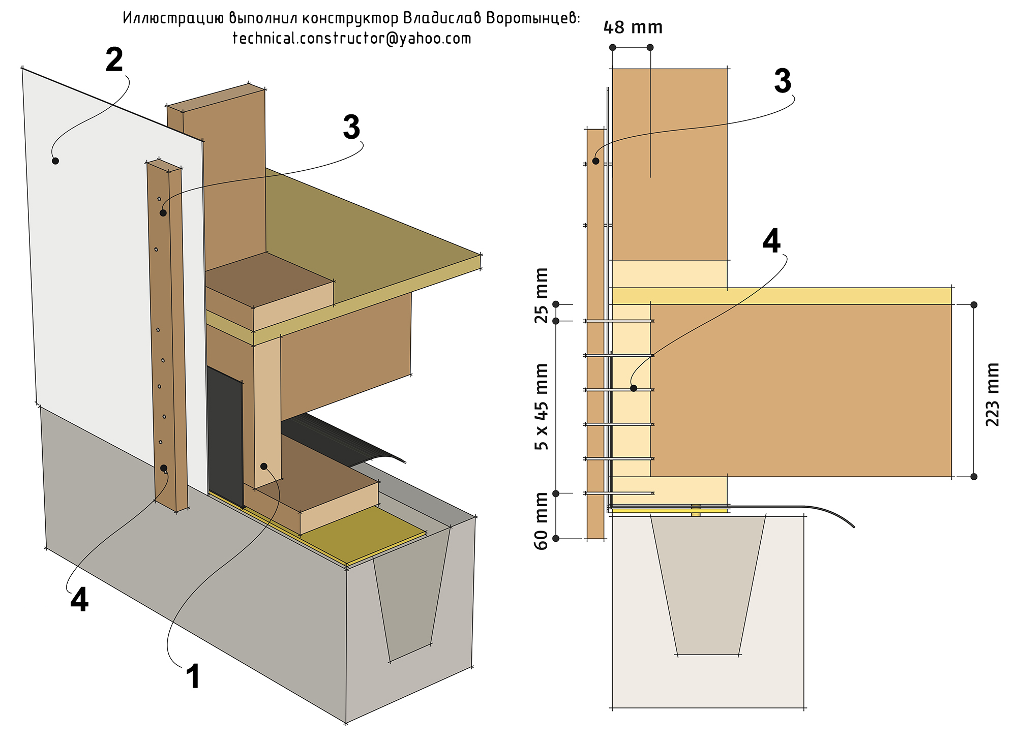 Рис. 9.35 Анкеровка деревянных каркасных стен к цокольному перекрытию с помощью деревянных реек. Анкеровка деревянных каркасных стен к каркасу цокольного перекрытия