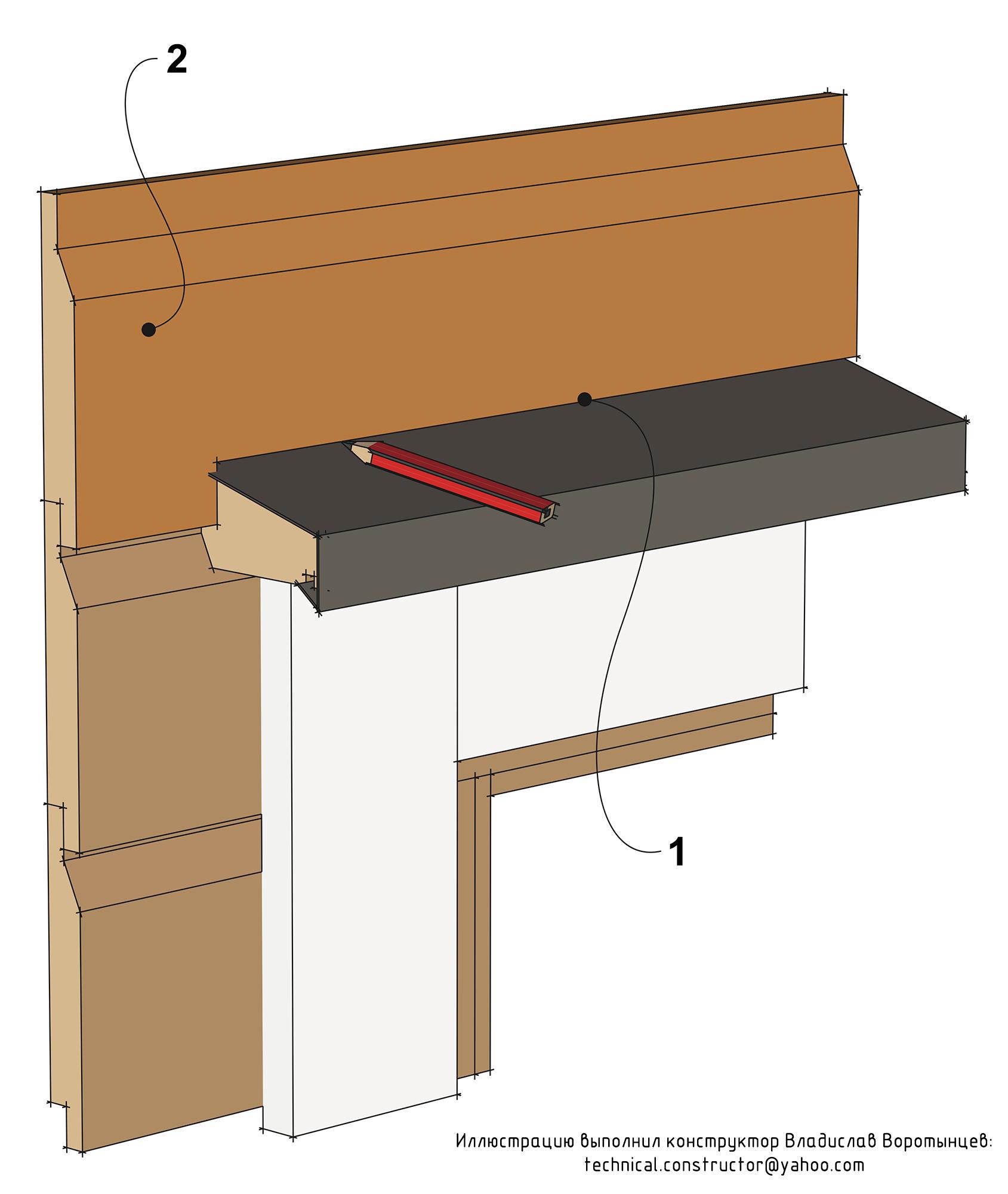 Рис. 9.58 Стык досок обшивки над верхними дверными и оконными водоотливами